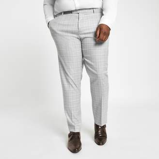 Mens Big and Tall Grey check suit trousers