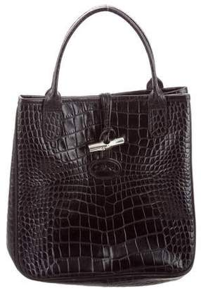 Longchamp Small Roseau Embossed Leather Tote