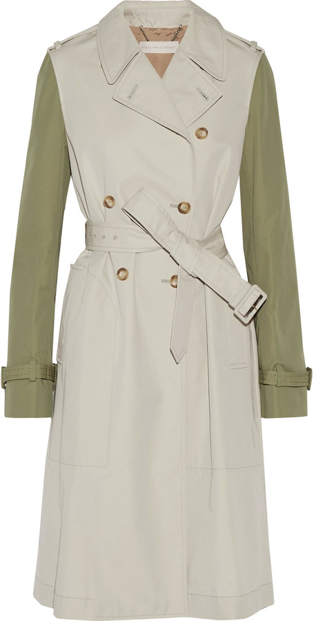 Stella McCartney Stella McCartney Tanya two-tone cotton-blend gabardine trench coat