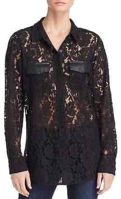 Calvin Klein Faux Leather-Trim Lace Blouse