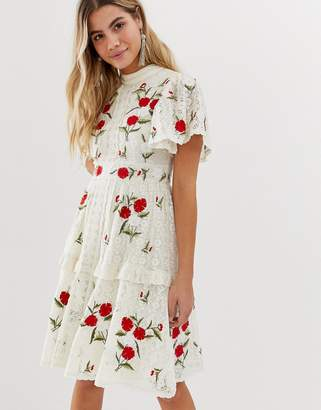 Frock and Frill prairie embroidered midi dress with lace insert and tiered skirt in cream