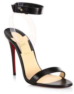 Christian Louboutin Jonatina 100 Leather& PVC Ankle-Strap Sandals