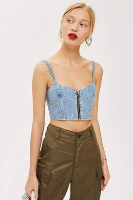 Topshop Star Studded Denim Bralet