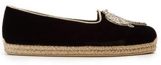 Christian Louboutin Noemie Playa Embroidered Velvet Espadrilles - Womens - Black