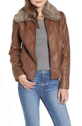Hinge Faux Fur Collar Leather Jacket