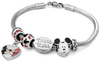 Connections From Hallmark Stainless Steel Disney Mickey & Minnie Charm Bracelet Set