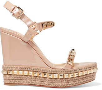 6e4d04a1cf Christian Louboutin Cataclou 120 Studded Patent-leather Wedge Platform  Sandals - Beige