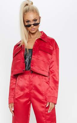 PrettyLittleThing Red Contrast Stitch Military Crop Jacket