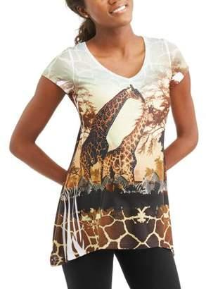 Generic Women's Short Sleeve Allover Print Giraffe Graphic T-Shirt