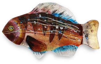 "Jasmine Art Glass 18"" Brown Gills Fish Plate"
