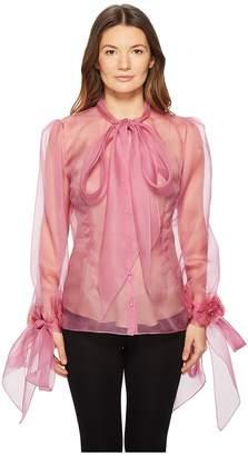 Marchesa Blush Silk Organza Blouse Women's Blouse