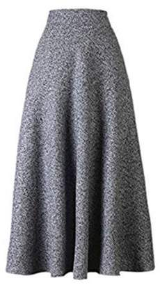 unknow British style cultivate morality autumn winter long high waist wool skirt dress