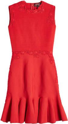 Giambattista Valli Dress with Lace and Fluted Hem