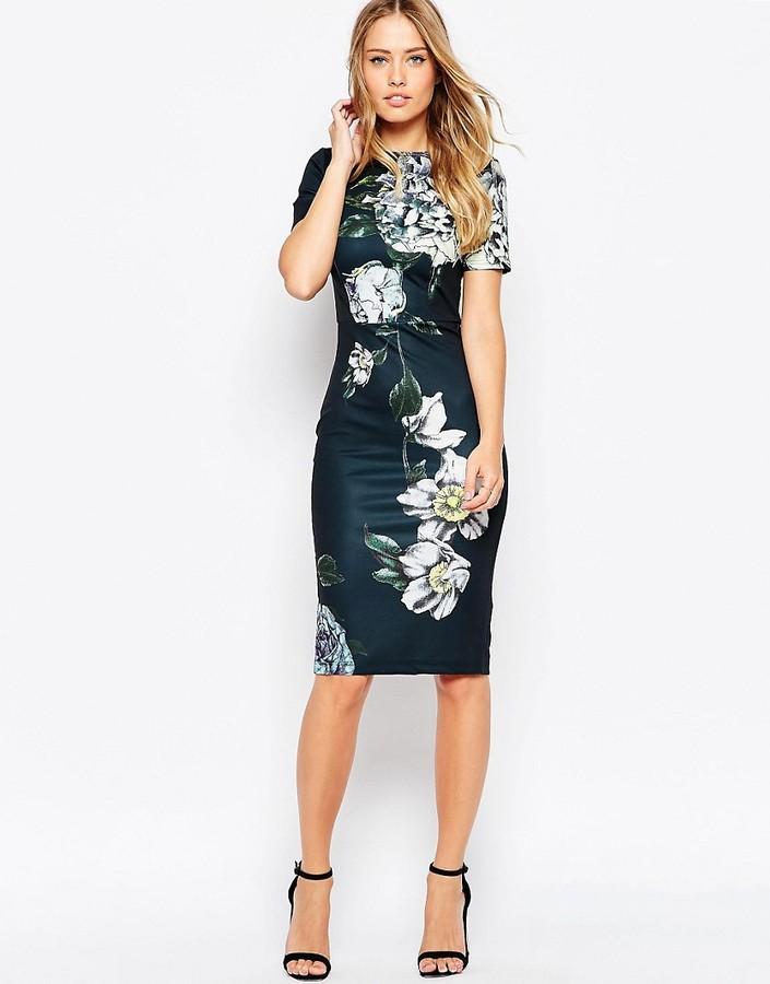 ASOS COLLECTION ASOS Premium Placed Dark Scuba Floral Midi Body-Conscious Dress