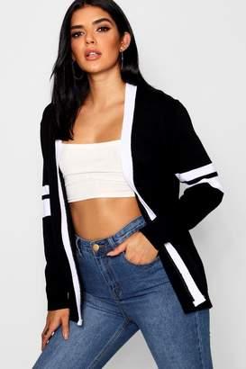 boohoo Sports Stripe Knitted Cardigan