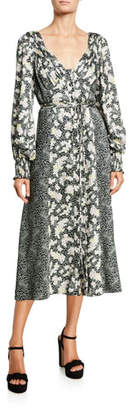 Cinq à Sept Jessica Long-Sleeve Printed Midi Dress