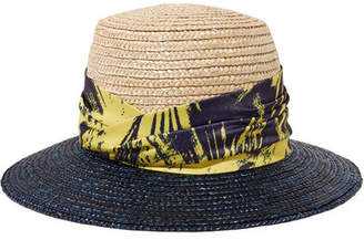 Eugenia Kim Stevie Printed Satin-trimmed Straw Sunhat - Beige