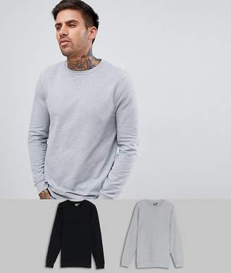 Asos DESIGN muscle sweatshirt 2 pack black/gray