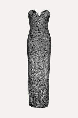 Naeem Khan Strapless Sequin-embellished Tulle Gown - Gunmetal