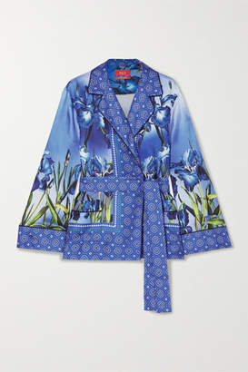 b4ba77a8c2a316 F.R.S For Restless Sleepers - Giocasta Printed Silk-twill Wrap Top - Blue