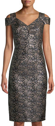 Maggy London Twilight Rose Brocade Slit-Shoulder Sheath Dress