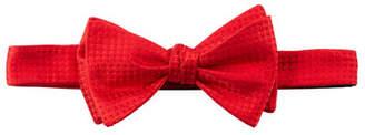 Neiman Marcus Pre-Tied Box-Pattern Satin Bow Tie