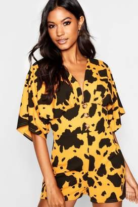 boohoo Giant Leopard Kimono Sleeve Horn Button Playsuit