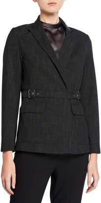 Max Studio Crosshatch Belted Wrap-Front Jacket
