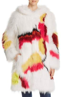 Maximilian Furs Floral Fox Fur Coat