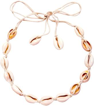 Shein White Cowrie Shell Braided Choker Necklace