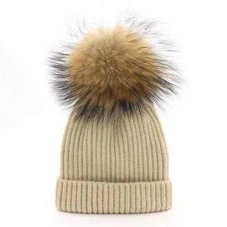 dd9f4c0788a Lisianthus Womens Winter Warm Knit Fur Pom Pom Beanie Hat