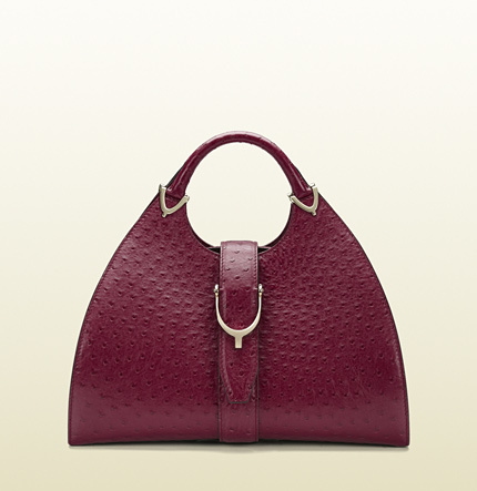 Gucci Stirrup Ostrich Top Handle Bag