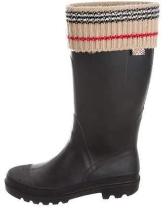Burberry Rubberized Rain Boots Black Rubberized Rain Boots