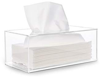 clear hblife Facial Tissue Dispenser Box Cover Holder Acrylic Rectangle Napkin Organizer for Bathroom