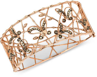 LeVian Le Vian Chocolatier Diamond Butterfly Openwork Bangle Bracelet (1-1/6 ct. t.w.) in 14k Rose Gold
