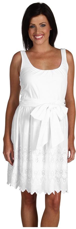 Green Dragon Shirred Embroidered Border Dress (White) - Apparel