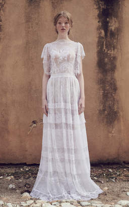 Costarellos Bridal Neoromantic Angel Sleeve Tiered Tulle Dress