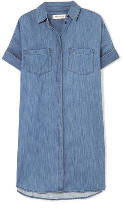 Madewell Courier Cotton And Linen-blend Chambray Shirt Dress - Blue