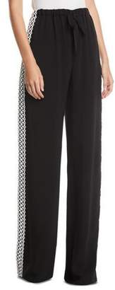 Naeem Khan Lace Side-Striped Pants