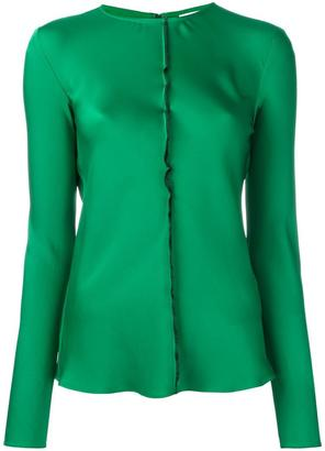 DKNY ruffle trim satin blouse $272.87 thestylecure.com