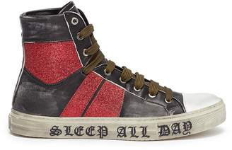 Amiri 'Party Glitter Stripe Sunset' leather high top sneakers