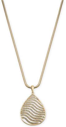 "Thalia Sodi Gold-Tone Pave Tiger Stripe Pendant Necklace, 18"" + 3"" extender;"
