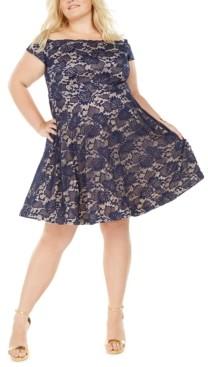 B. Darlin Trendy Plus Size Off-The-Shoulder Lace Dress