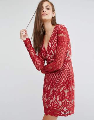 Style Stalker Stylestalker Long Sleeve V Neck Lace Mini Dress