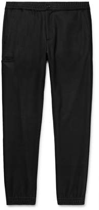 Theory Black Slim-Fit Tapered Stretch Wool-Blend Trousers