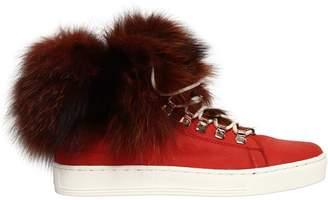 20mm Fox Fur & Leather Sneakers