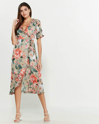 Kensie Ruffle Floral Wrap Dress