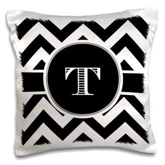 3dRose Black and white chevron monogram initial T, Pillow Case, 16 by 16-inch