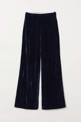 H&M Wide-leg Velvet Pants - Blue