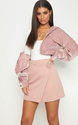 PrettyLittleThing Rose Scuba Button Detail Wrap Skirt